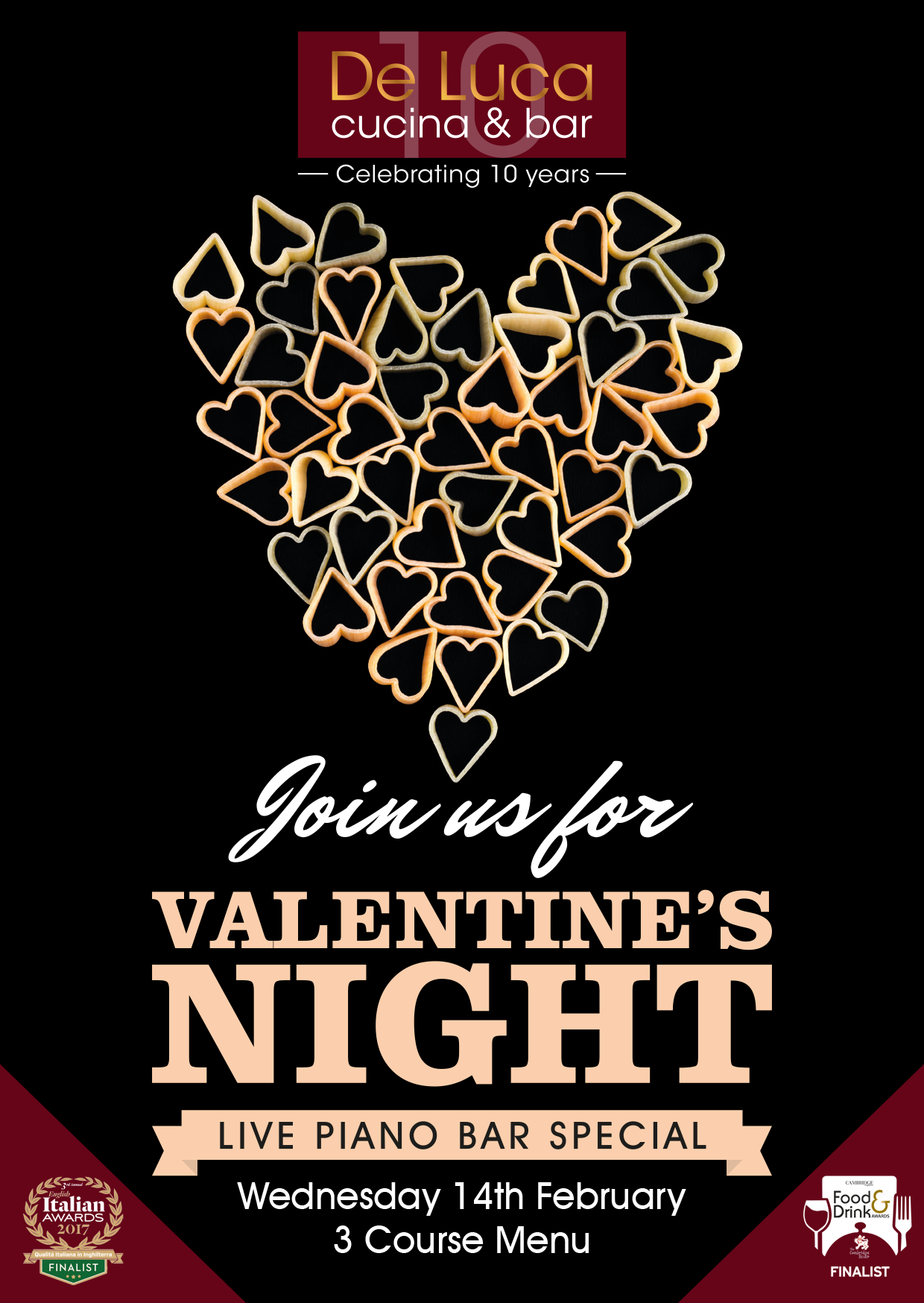 Valentine's Day: Three-course meal & love songs in Piano Bar